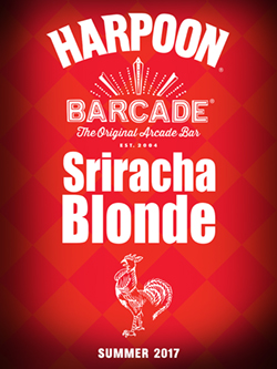 Harpoon Sriracha Blonde Barcade® Exclusive Beer — available only at Barcade® locations while supplies last