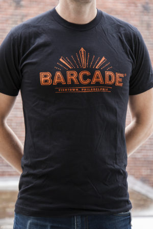 Barcade® Philly - Men's Black T-Shirt with Orange Logo