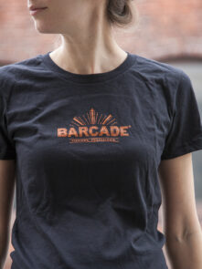 Barcade® Philly - Womens' Black T-Shirt with Orange Logo