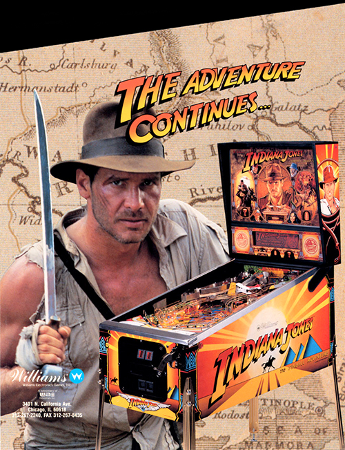 Indiana Jones (pinball) — 1993 Indiana Jones: The Pinball Adventure (pinball) — 1993 at Barcade® in Williamsburg, Brooklyn, NY