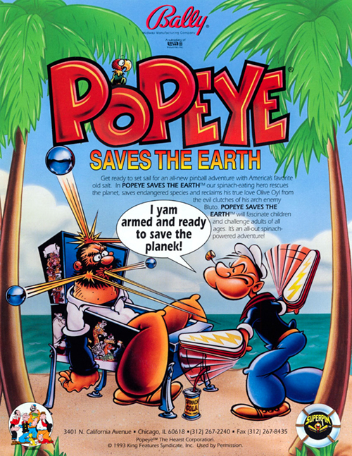 Popeye Saves the Earth (pinball) — 1994 at Barcade®