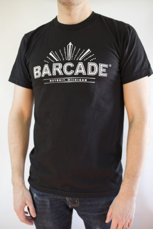 Barcade® Detroit - Men's Black T-Shirt with White Logo