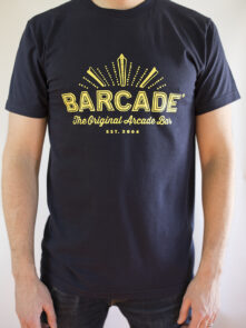 Barcade® - The Original Arcade Bar Navy Blue T-Shirt with Yellow Logo
