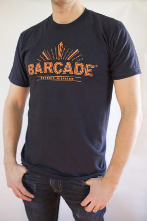 Barcade® Detroit - Men's Navy Blue T-Shirt with Orange Logo