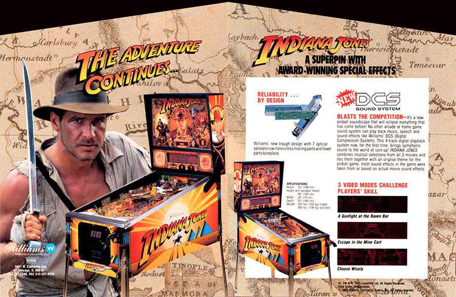 Indiana Jones (pinball) — 1993 at Barcade® (Williams)