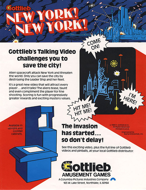 New York! New York! — 1980 at Barcade® | arcade flyer graphic