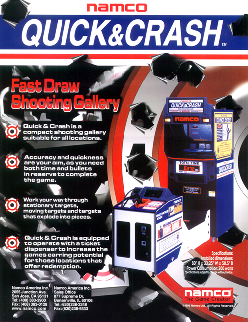 Quick and Crash — 1999 at Barcade® | arcade flyer graphic