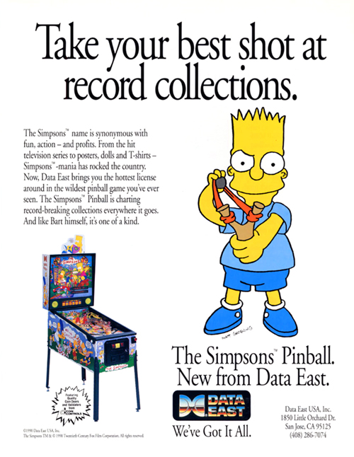 The Simpsons (pinball) — 1990 at Barcade® | arcade flyer graphic
