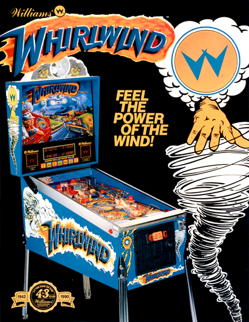 Whirlwind (pinball) —1990 at Barcade® | arcade flyer graphic