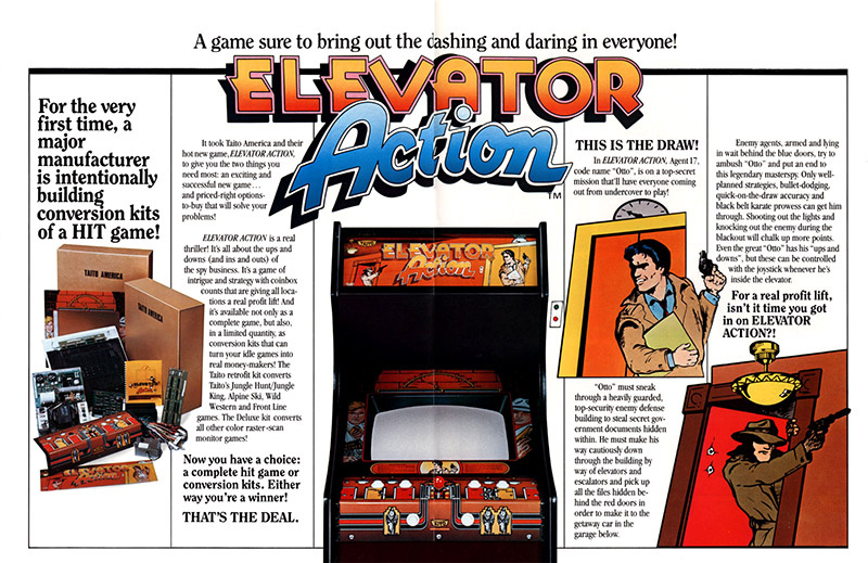 Elevator Action — 1983 at Barcade® | arcade game flyer graphic spread