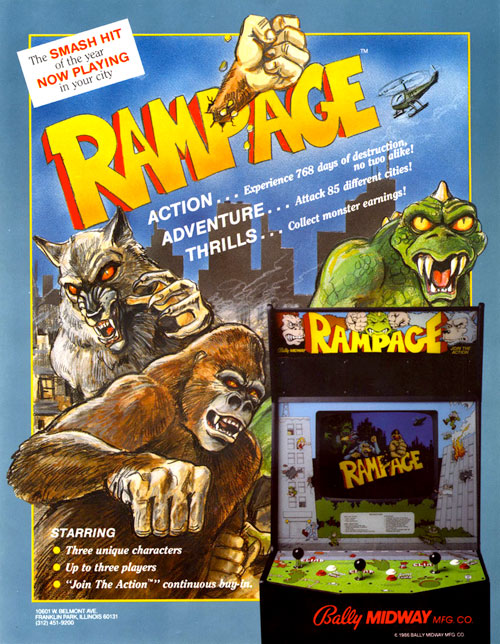 Rampage — 1986 at Barcade® | arcade game flyer graphic