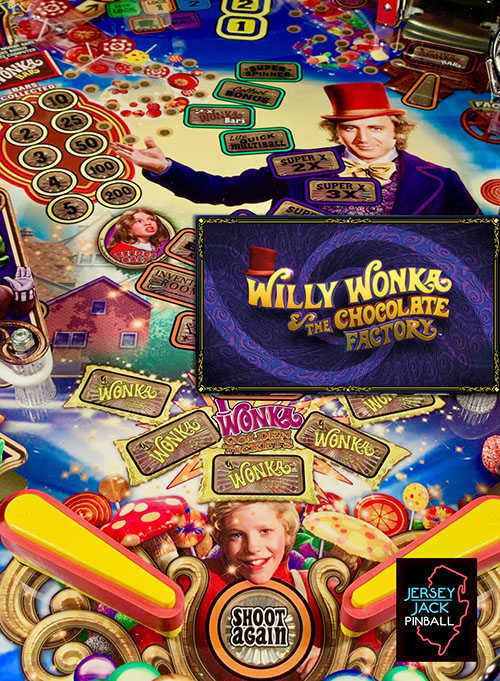 Willy Wonka and the Chocolate Factory (pinball) — 2019 at Barcade® | arcade game flyer graphic