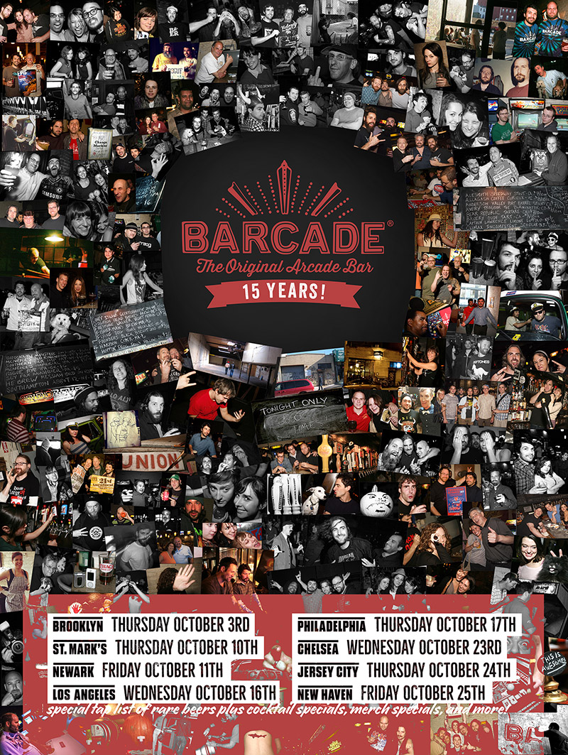 Barcade 15th Anniversary Party 2019 at Barcade® locations on select dates in October