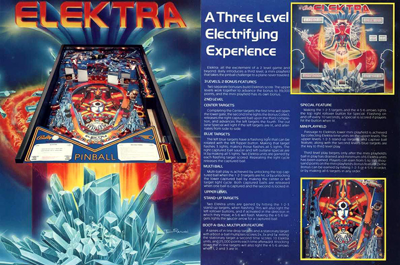 Elektra (pinball) — 1981 at Barcade® | arcade game flyer graphic