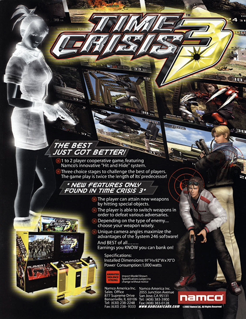 Time Crisis 3 — 2002 at Barcade® | arcade game flyer graphic