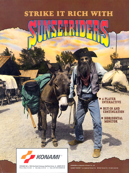 Sunset Riders — 1991 at Barcade® | arcade game flyer graphic