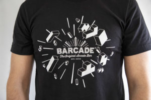 Barcade® | Tetris Anniversary T-Shirt - Black with white logo art