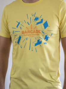 Barcade® | Tetris Anniversary T-Shirt - Yellow with Orange and Cyan logo art