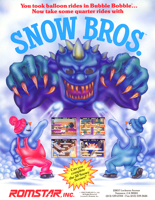 Snow Bros. — 1990 at Barcade® | arcade game flyer graphic