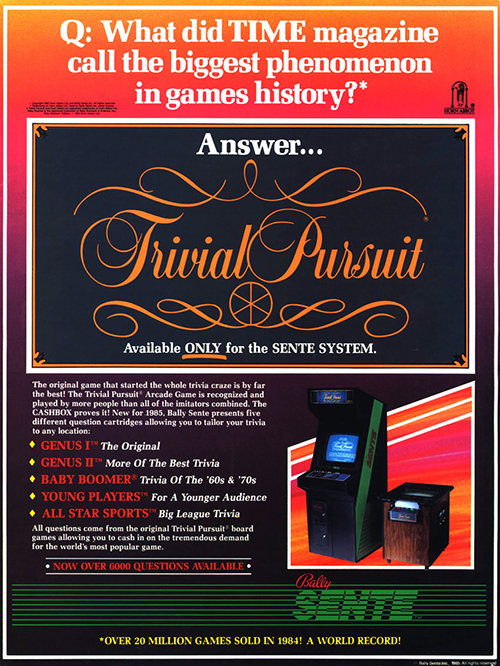 Trivial Pursuit — 1984 at Barcade® at Barcade® | arcade game flyer graphic