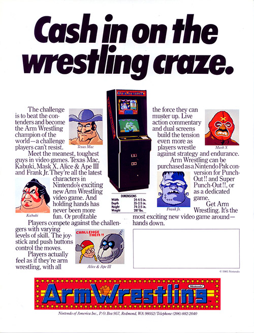 Arm Wrestling — 1985 at Barcade® | arcade game flyer graphic 2