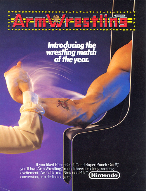 Arm Wrestling — 1985 at Barcade® | arcade game flyer graphic