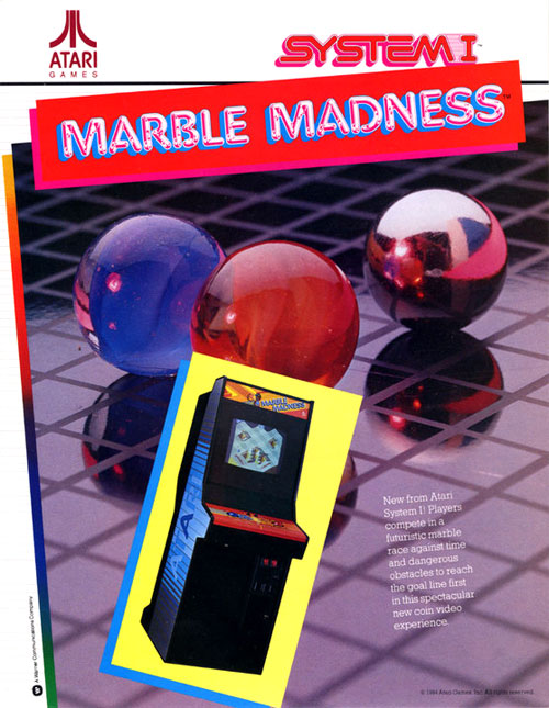 Marble Madness — 1984 | arcade game flyer graphic