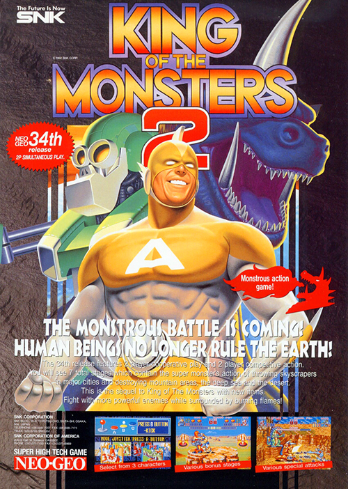 King O fThe Monsters 2 — 1992 at Barcade® | arcade game flyer graphic
