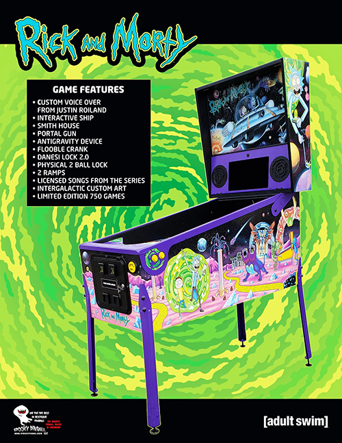 Rick and Morty (pinball) — 2020 at Barcade® | arcade game flyer graphic