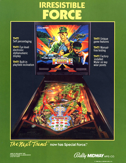 Special Force (pinball) — 1986 at Barcade® | arcade flyer poster graphic