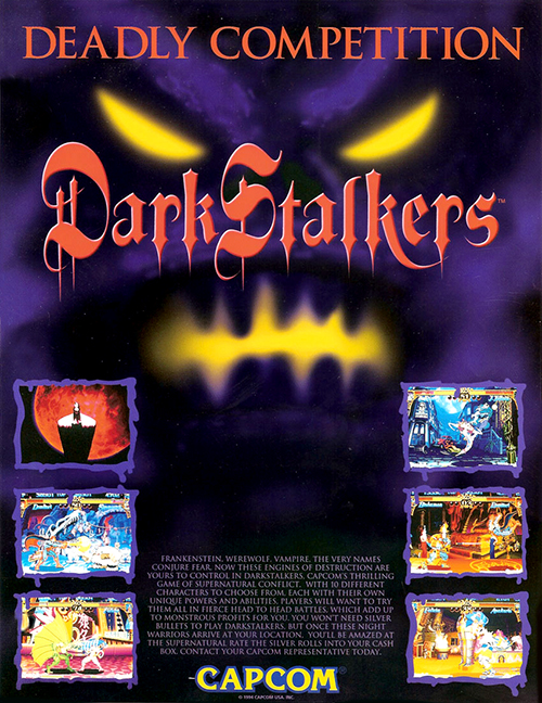Dark Stalkers: The Night Warriors — 1994 at Barcade®   arcade game flyer graphic