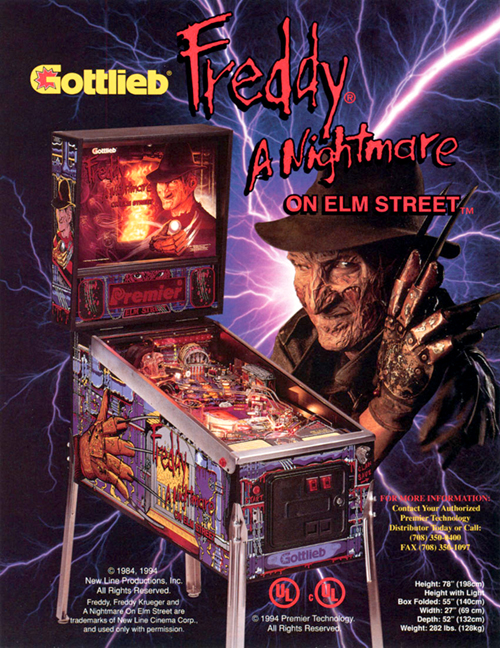 Freddy: A Nightmare On Elm Street (pinball) — 1994 at Barcade® | arcade game flyer graphic